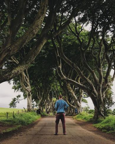 Johnny Ward at the Dark Hedges, County Antrim, Northern Ireland