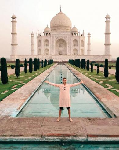 Johnny Ward at the Taj Mahal, India
